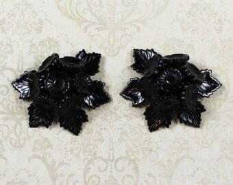Vintage Black Celluloid Plastic Carved Floral Shoe Clips