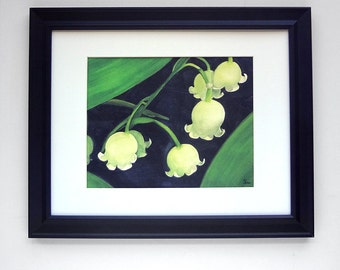flower watercolor art print, lily of the valley painting, nature wall art, 5x7