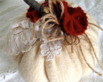 Pumpkin fall decor Winter white wool with burnt orange felted wool flowers and lace
