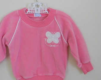 Vintage Toddler Girl's Pink Velour Shirt with Butterfly Applique - Size 9-18 Months