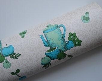 Vintage 1960s Blue and Green Food Print Wallpaper - Unused Roll