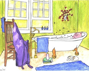 Little Pig Mom in the Bath custom watercolor original painting 4x6 free personalization