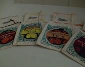 Muslin Bags with Silk-Screened Tea Designs Set of 4
