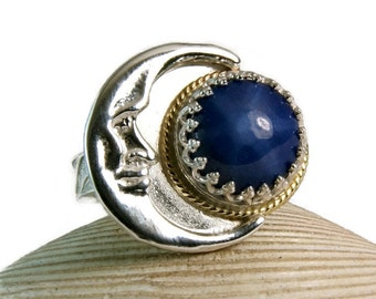 Novelty Ring, Star Sapphire Crescent Moon Ring, Sterling Silver Moon, Solid Yellow Gold, Artisan Jewelry, custom sized