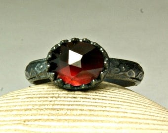Small Garnet Ring, Dainty Jewelry, Floral Band, January Birthstone, Filigree Setting, Gemstone Ring, custom sized