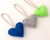 Seahawks Colors Heart Ornaments Set of 3 Recycled Felt Blue Green and Grey