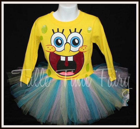 Spongebob tshirt tutu dress size 2t Birthday dress yellow pink Spongebob Squarepants