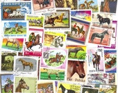 50 Horse themed postage stamps - Vintage and modern stamps - Horse and pony stamps, world wide stamps, old stamps, stamp collection