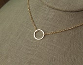 Tiny gold hammered circle necklace in gold filled, gold ring necklace, eternity ring necklace, hammered necklace, mother's day