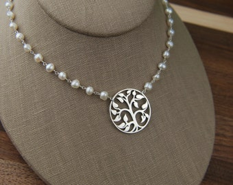 Large sterling silver tree of life pendant and pearl necklace with freshwater pearls, tree pendant, large tree, pearl jewelry
