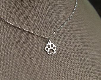 Paw print charm necklace in sterling silver, animal, cat paw, dog paw, cat jewelry, dog jewelry, pets, openwork, feline, canine