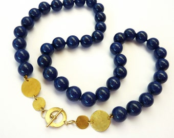 Royal Blue Lapis Lazuli Necklace, 18K Gold, Lapis gold necklace, blue gemstone necklace - Lapis Jewelry