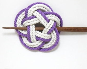 Sailor Knot Hair Stick Barrette in Purple and White