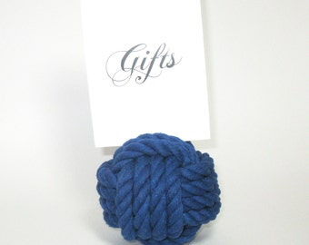 Nautical Wedding Rope Table Number Knots in Blue Cotton Rope Pack of 10