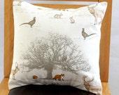 Pillow Woodland tree creatures pheasant deer stag fox squirrel rabbit orange brown beige design One 16 inch cushion shams UK designer fabric