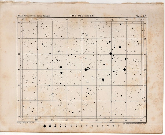 1910 pleiades star map original antique celestial constellation print