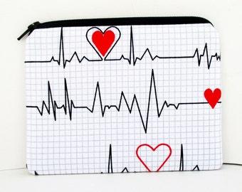 Small Zippered Pouch, Heart Beat of Love, EKG Coin Purse