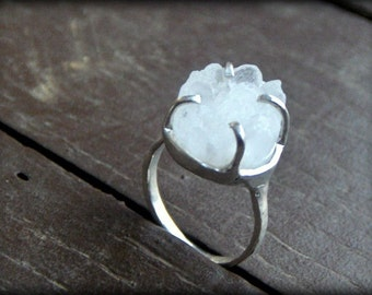 ICE QUEEN. Non Traditional Engagement or promise ring- Made to order-Any size Crystal Druzy and sterling silver rustic ring Front Page Etsy