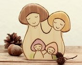Wooden Waldorf Toy MUSHROOM GNOME FAMILY 4 in 1 - birthday ring figurine - autumn nature table - waldorf toy