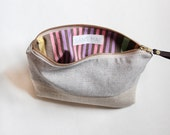 EMILIE Makeup bag, cosmetic case, grey and cream with vintage stripes