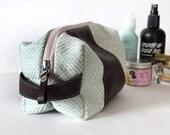 Dopp bag Toiletry case herringbone fabric and leather