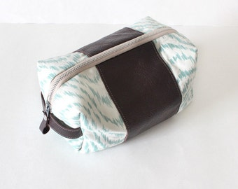 Dopp bag Toiletry case reclaimed turquoise wave fabric with brown leather