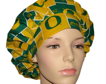 Scrub Hats - University Of Oregon Ducks Block Print Fabric