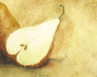 Pear Watercolor Still Life Painting For Sale