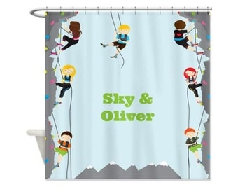Rock Climbers Kids' Personalized Shower Curtain - Rock Climbing, Custom Shower Curtain