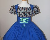 Day of the Dead Halloween Costume  Dress Cinco De Mayo Costume Sugar Skulls Womens Large Blue Black Dress