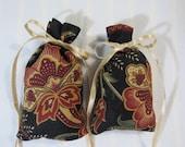 "Black 3""X2"" Sachet-'Potpourri Spice' Fragrance-Brown/Tan/Rust Kitchen Sachet-Cotton Fabric Botanical/Herbal Sachet-Cindy's Loft-330"