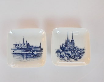 Royal Copenhagen Denmark Decorative Wall Dishes - 2 Small Square Pin or Trinket Dishes - Cathedrals