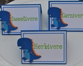 Dinosaur themed party food cards set of 6, personalized