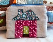 Pretty Coin Purse Featuring an Appliqued Country Cottage Stitched in Layers of Lovely Fabrics