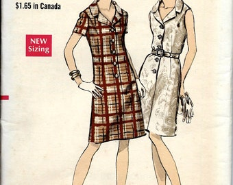 UNCUT 1960's Vogue No. 7262 : Slightly Fitted A-Line Shirtdress with Bias Notched Collar - Bust 35