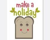 Make a Holiday Toast Christmas Card, Cute Christmas Card, Cute Toast Card, Holly Card