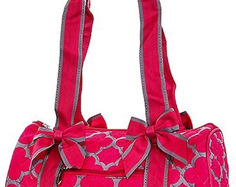 Pink Quilted Quatrefoil Small Tote Bag Great Dance or Overnight Bag Monogrammed Personalized