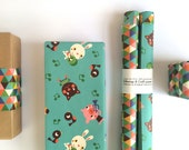 Giftwrap and craft paper - Retro Animals - FOLDED