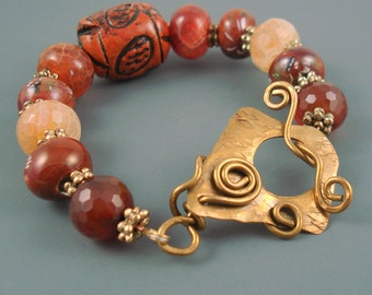 Agate Bracelet, Mix of Agate with Hand Painted Ceramic Beads, Large Wood Bead, and Hand Made Brass Clasp