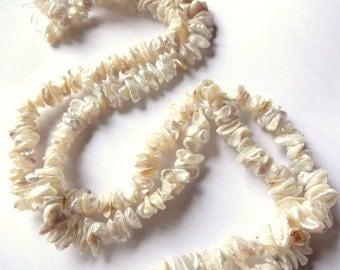 """NEW CREAMY WHITE Metallic Keshi Cornflake Pearls, 7-8mm diameter, 4"""" strand, Genuine Freshwater Pearls, cornflake pearls, jewelry supplies"""