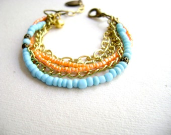 Bohemian style bracelet  - Freely -  Boho chic stacking turquoise peach coral soft golden color block bracelet