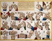 antique victorian sign language alphabet illustration digital download
