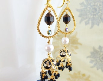 Black Bollywood India Earrings Mughal Minakari Jhumka