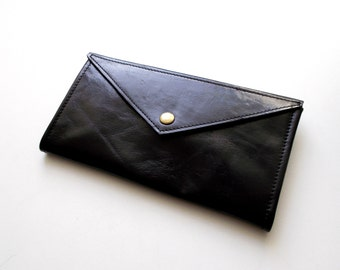 Black envelope  wallet - leather women wallet