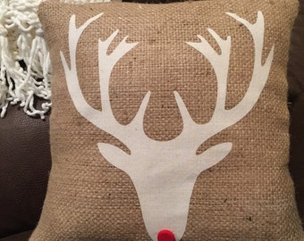 Holiday reindeer pillow, burlap pillow, Rudolph, deer throw pillow, decorative pillow