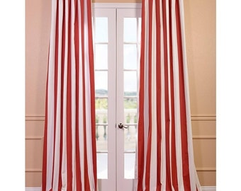 Curtains Ideas brown white striped curtains : Red stripe curtains | Etsy