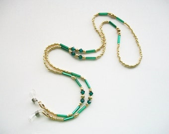 Golden Eyeglass Necklace Beaded Lanyard with Gold Plated and Emerald Swarovski Crystal Bicone Beads