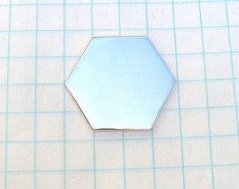 Premium Sterling Silver Hexagon Blank Disc Hand Stamping Jewelry Pendant or Bracelet 1 inch 22 gauge Handmade