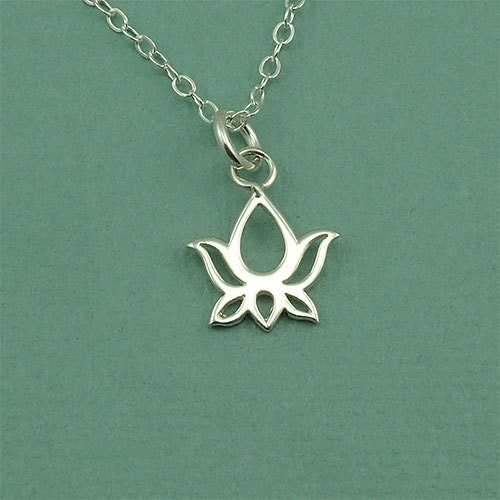 Tiny lotus necklace yoga jewelry sterling silver by thezenmuse for Gemsprouts tiny plant jewelry