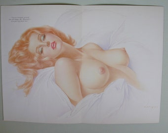 """Vargas 1969 Playboy Pin Up Fold Out Good  Condition 15"""" x 10 3/4"""" Nude Blond"""